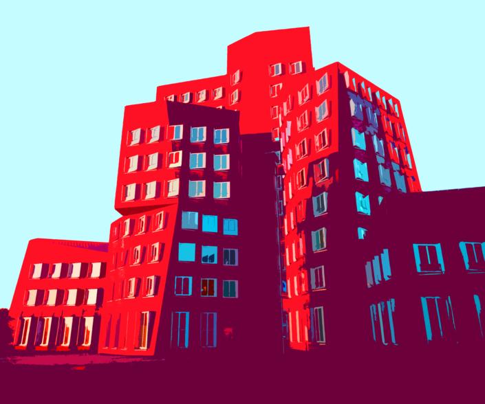 """red and scew"", [Gehry Bauten, Düsseldorf], Format: 60x50 cm"